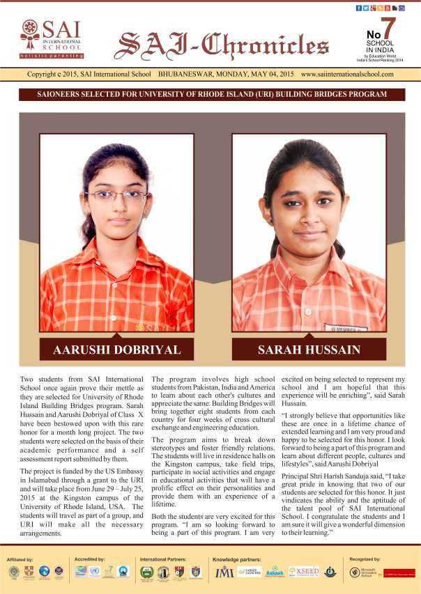 News letter 4th May 2015