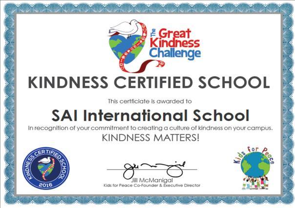 The Great Kindness Challenge 2016 Certificate SAI International School