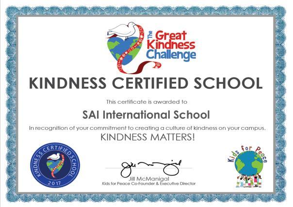 KINDNESS CERTIFIED SCHOOL 2017 Certificate